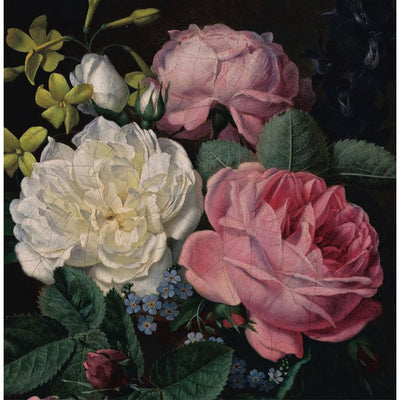 Greetings card - Roses in a Vase by Antoine Chazal. Three roses, one white and two pink, with accompanying small blue and yellow flowers. From the collection of The Fitzwilliam Museum, brought to you by CuratingCambridge.com