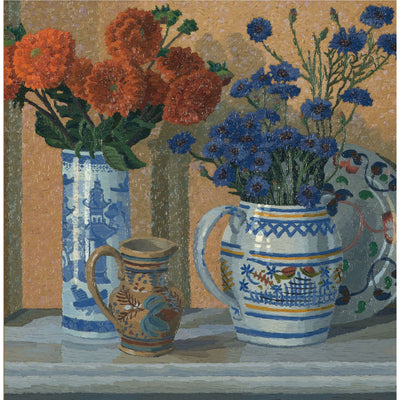 Greeting card - Dahlias and Cornflowers by Charles Ginner. Orange/red dahlias and blue cornflowers in red, yellow and white vases. From the collection of The Fitzwilliam Museum, brought to you by CuratingCambridge.com