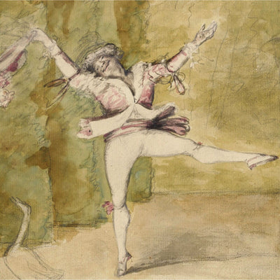 Square greeting card - caricature of French dancer Marie-Auguste Vestris, in coloured wash and graphite. The twirling dancer is accompanied by the sketch of a goose. From the collection of The Fitzwilliam Museum, brought to you by CuratingCambridge.com
