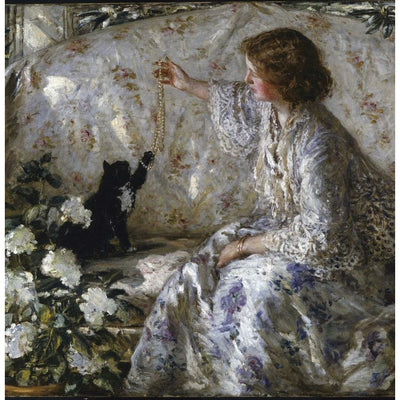 Greeting card - Hydrangeas by Philip Wilson Steer. Interior scene with a young lady in a white and blue laced edged dress playing with a black cat. From the Victorian art collection of The Fitzwilliam Museum, brought to you by Curating Cambridge.