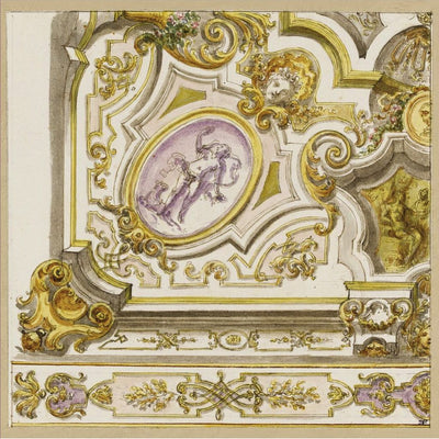 Square greeting card with a design for a ceiling decoration by Giuseppe Valeriani. White moulded ceiling design with gold embellishments and swags, and some figurative work. From the collection of The Fitzwilliam Museum, brought to you by CuratingCambridge.com