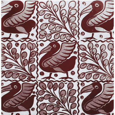 Greeting card - Tile with Five Ruby Birds by William de Morgan. Five dark red birds interspersed with red botanical designs on a white background. From the collection of The Fitzwilliam Museum, brought to you by CuratingCambridge.com