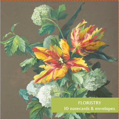 Notecard pack, Floristry. Cover image - Viburnum opulus with Parrot Tulips by Dominique Dumillier. From the collection of the Fitzwilliam Museum, brought to you by CuratingCambridge.co.uk