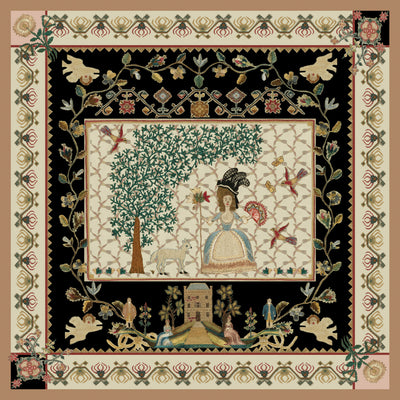 Sampler silk square - shepherdess and tree scene with black highlights and floral borders. From The Fitzwilliam Museum, brought to you by CuratingCambridge.com