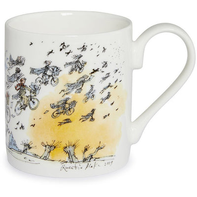 Fine bone china mug - Finale/Graduation by Quentin Blake. Cambridge graduates fly off to future success. Brought to you by CuratingCambridge.co.uk