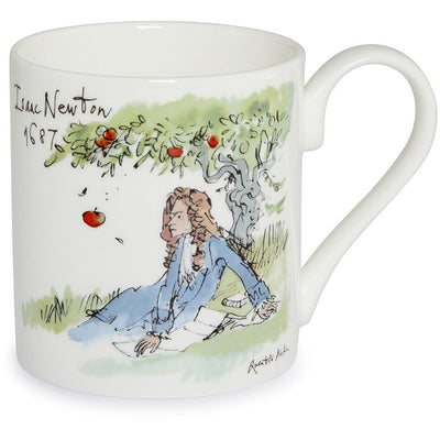 Fine bone china mug featuring Isaac Newton by Quentin Blake. Produced for the Cambridge University 800 celebrations in 2009. Brought to you by CuratingCambridge.co.uk