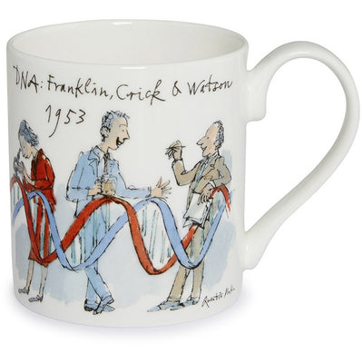 Fine bone china mug featuring Rosalind Franklin, Francis Crick, and James Watson, and their discovery of the structure of DNA. Illustration by Quentin Blake, brought to you by CuratingCambridge.co.uk