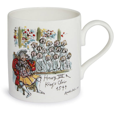 Fine bone china mug featuring Henry VIII and the Choir of King's College, Cambridge University. Illustration by Quentin Blake. Brought to you by CuratingCambridge.co.uk.