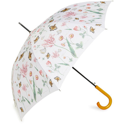 Retractable classic umbrella with illustration of tulips and butterflies by Nicolas Robert. From the Broughton collection in the Fitzwilliam Museum, brought to you by CuratingCambridge.co.uk