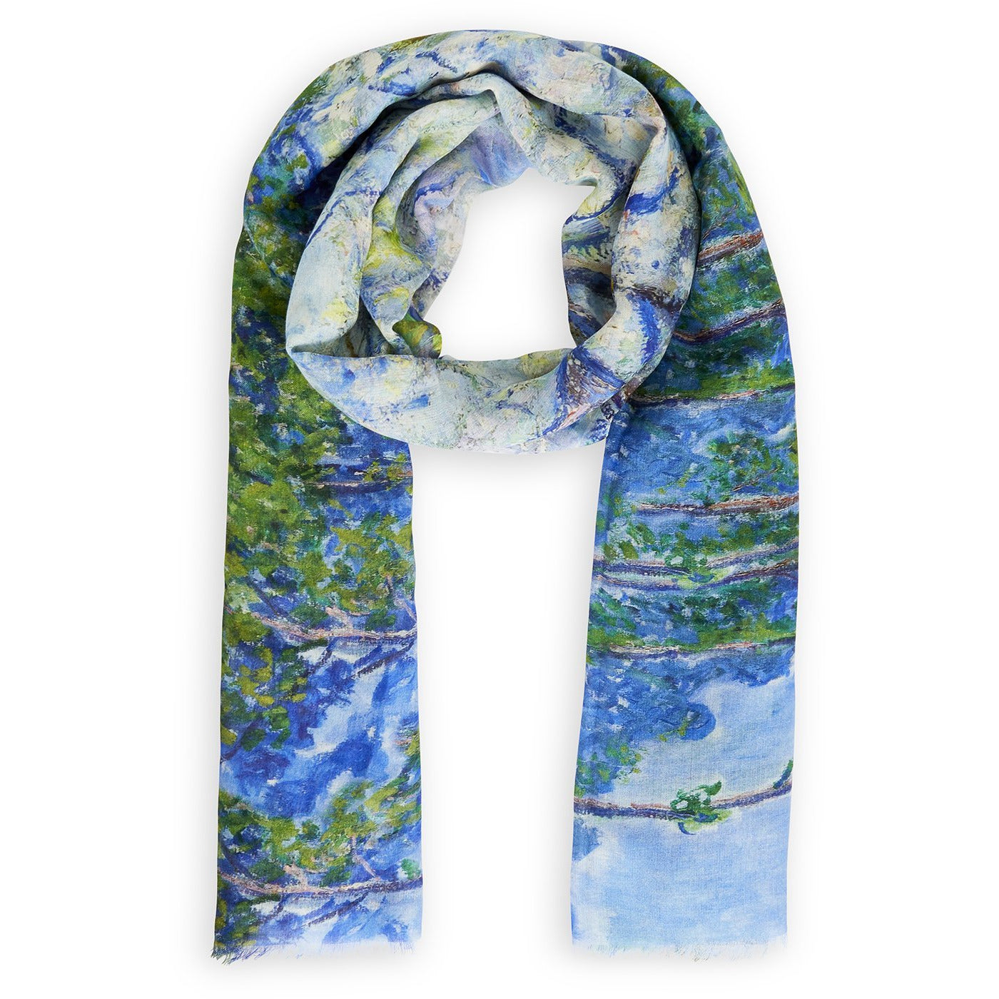 A product image depicting Monet's Trees - Silk scarf