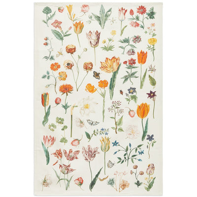 Cotton tea towel, Midsummer Meadow design with botanical art by Nicolas Robert. From the Broughton Collection of the Fitzwilliam Museum, brought to you by CuratingCambridge.co.uk
