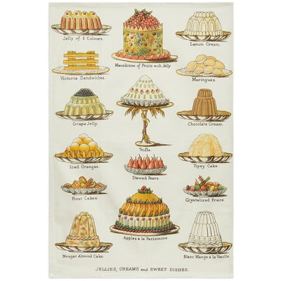 Linen tea towel - Jellies, Creams and Sweet Dishes from Mrs Beeton's Book of Household management. Collection of Cambridge University Library, brought to you by CuratingCambridge.co.uk