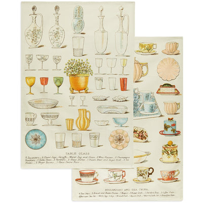 Set of two linen tea towels featuring illustrations of glass tableware and tea china from Victorian book Mrs Beeton's Book of Household Management. From the collection of the Cambridge University Library, brought to you by CuratingCambridge.co.uk