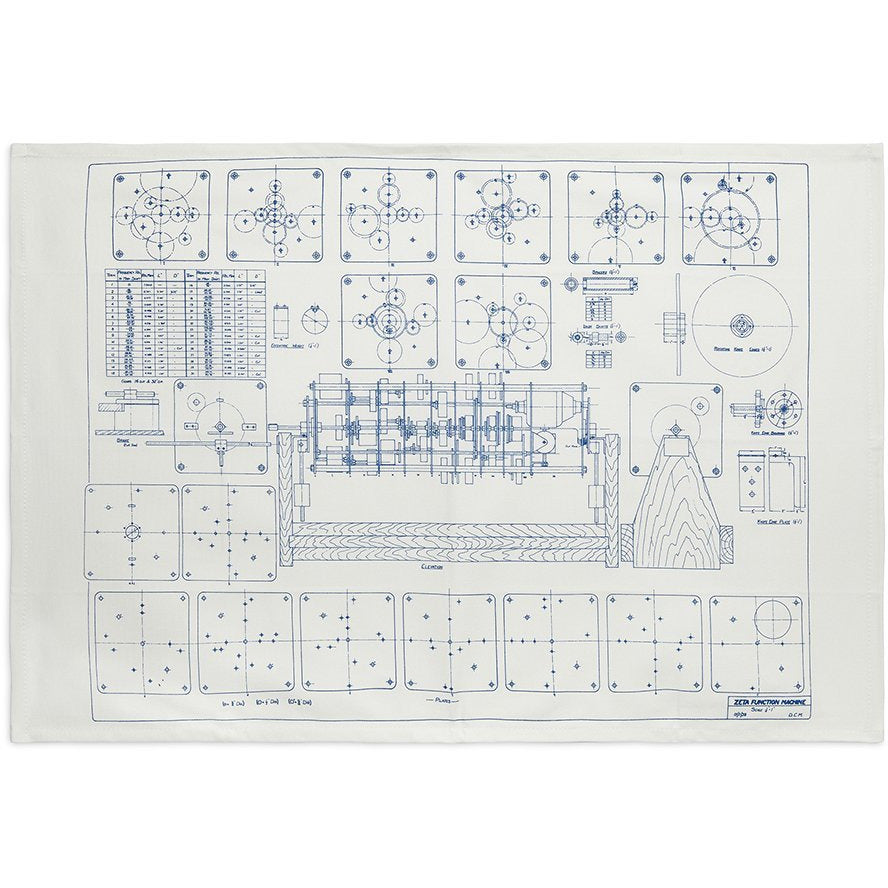 Featured image for the project: Alan Turing Zeta Function Machine blueprint - Tea towel