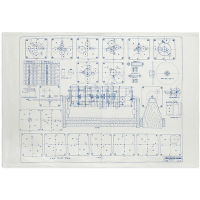 Linen tea towel, blue on white - blueprint of Alan Turing's zeta function machine. Brought to you by CuratingCambridge.co.uk