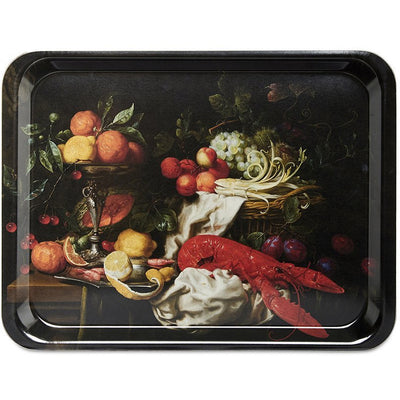 Melamine serving tray with printed image of Still Life with a Lobster by Joris van Son. From the collection of the Fitzwilliam Museum, brought to you by CuratingCambridge.co.uk