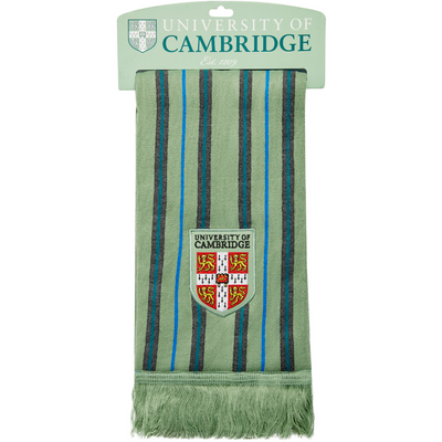100% acrylic scarf in Cambridge Blue with fine stripe design and University of Cambridge shield. Official merchandise brought to you by CuratingCambridge.com