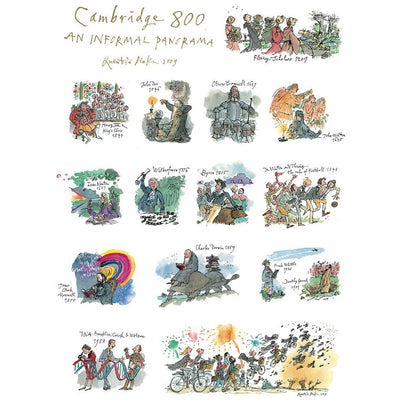 Linen tea towel - Cambridge 800: An Informal Panorama by Quentin Blake. Famous alumni of Cambridge University. Brought to you by CuratingCambridge.co.uk.
