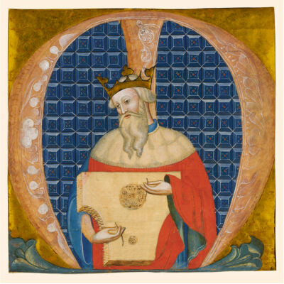Christmas card pack - King David, or illuminated letter M. From the manuscript collection of The Fitzwilliam Museum, brought to you by CuratingCambridge.com