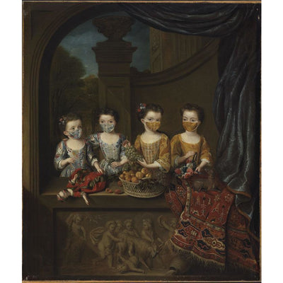 Greetings card - Fitzwilliam Museum Masterpieces 2020 Edition: The Daughters of Sir Matthew Decker by Jan van Meyer. Brought to you by CuratingCambridge.co.uk