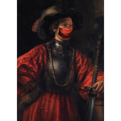 Man in a Military Costume, attributed to Rembrandt, with added face mask. From the collection of The Fitzwilliam Museum Enterprises, brought to you by CuratingCambridge.com