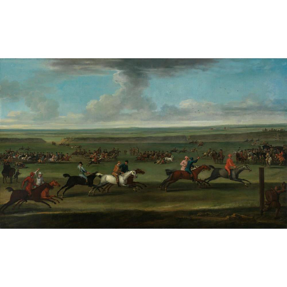 A product image depicting A Race on the Round Course at Newmarket - Art print