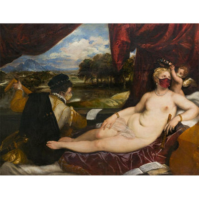 Greeting card - Fitzwilliam Masterpieces 2020 Edition: Venus and Cupid with a lute-player by Titian. From the Fitzwilliam Museum, brought to you by CuratingCambridge.co.uk