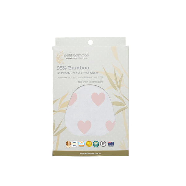 Bamboo Bassinet Sheet | Cradle Sheet | Pink Hearts - Petit Bamboo