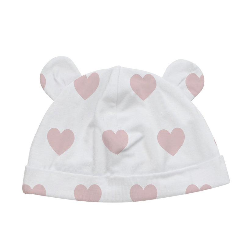 Baby Bamboo Beanie with Ears | Pink Heart - Petit Bamboo