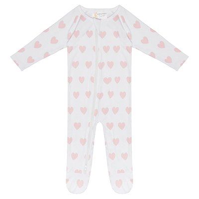 Baby Bamboo Bodysuit | Long Sleeve | Pink Hearts - Petit Bamboo