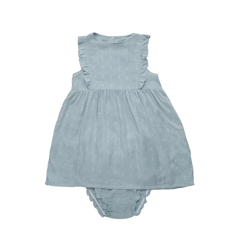 Baby Bamboo Woven Muslin Dress | Haze Blue - Petit Bamboo