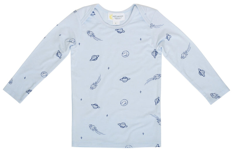 Baby Bamboo Long Sleeve Top | Blue Space - Petit Bamboo