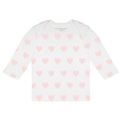 Baby Bamboo Long Sleeve Top | Pink Hearts - Petit Bamboo