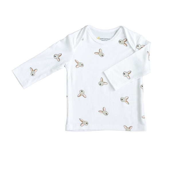 Baby Bamboo Long Sleeve Top | Kangaroo | White - Petit Bamboo