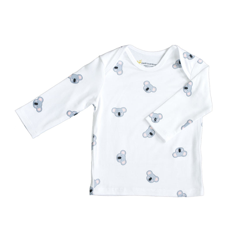 Baby Bamboo Long Sleeve Top | Koala | White - Petit Bamboo