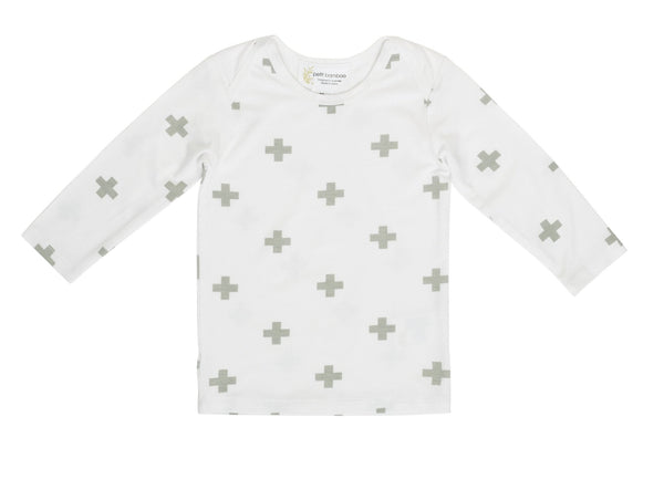 Baby Bamboo Long Sleeve Top | Grey Cross - Petit Bamboo