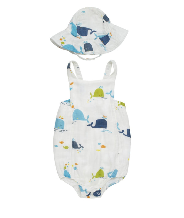Baby Bamboo Woven Muslin Onesie | Blue Whale - Petit Bamboo