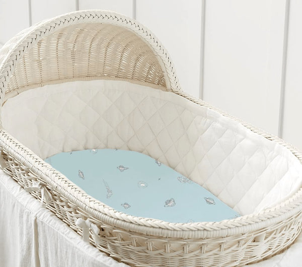 Bamboo Bassinet Sheet | Cradle Sheet | Blue Space - Petit Bamboo