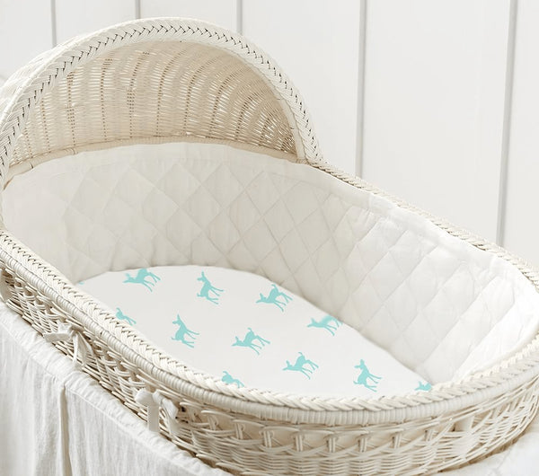 Bamboo Bassinet Sheet | Cradle sheet | Deer Green - Petit Bamboo