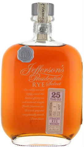 Jefferson's Presidential Select 25 Year Straight Rye Whiskey