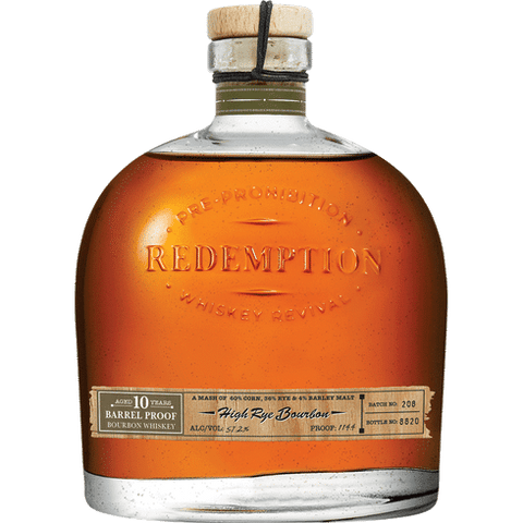Redemption High Rye 10 Year Barrel Proof Bourbon Whiskey