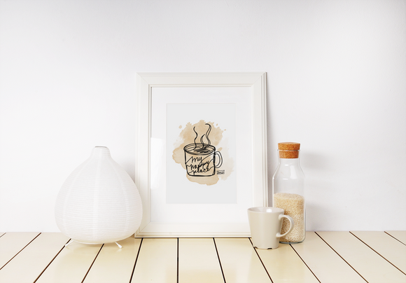 Coffee my happy place art print