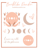 Love Yourself in all of its phases sticker sheet