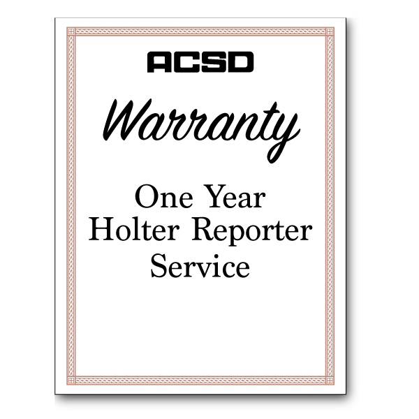 One Year Holter Reporter Service Warranty