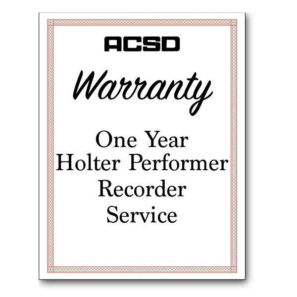 One Year Holter Performer Recorder Service Warranty