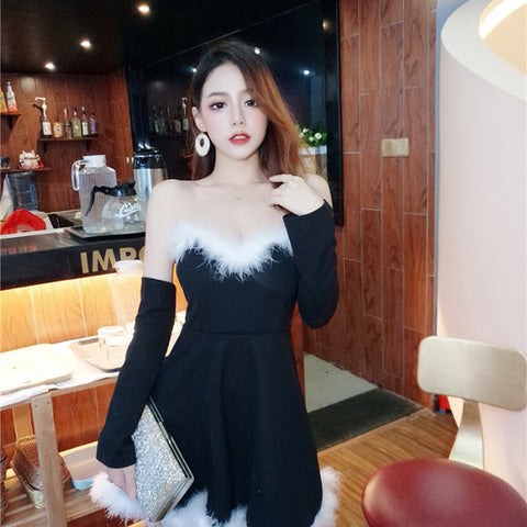 [dress] open shoulder plush tube top sexy one piece