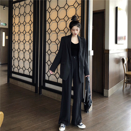 [outwear] 2-piece set 2019 new loose suit tops + pants