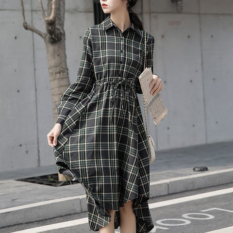 [dress] Autumn and Winter New Korean Style Design Long Sleeve Plaid Irregular Shirt Dress