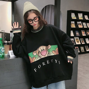[Outwear] Soft popular cartoon graffiti thick insulation back brushed hoodie