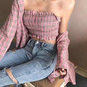 2 IN 1 SET PLAID TOP OVERSIZED TARTAN SHIRT